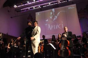 Эрнст ван Тиль и Людовик Бурс перед публикой Большого зала консерватории