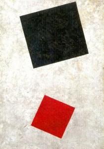 Черный прямоугольник, красный квадрат